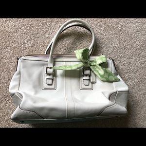 Like NEW White leather coach bag